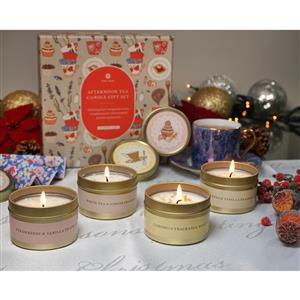 Set of 4 Afternoon Tea Tinned Candles