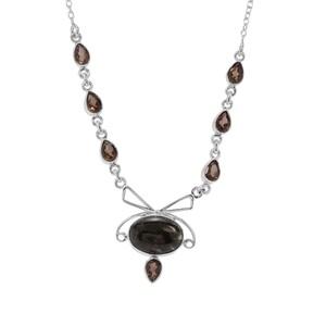 Midnight Seraphinite & Smokey Quartz Sterling Silver Necklace ATGW 15cts