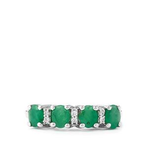 Minas Gerais Emerald & White Zircon Sterling Silver Ring ATGW 1.35cts
