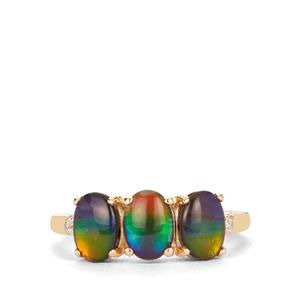 AA Ammolite Ring with White Zircon in 9K Gold (7x5mm)