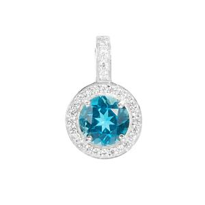 Ceylonese London Blue Topaz Pendant with White Zircon in Sterling Silver 2.80cts