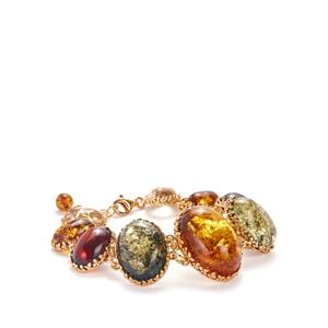 Baltic Cognac, Cherry, Champagne & Green Amber Gold Tone Sterling Slver Bracelet