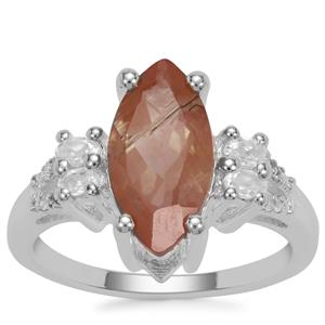 Guyang Sunstone Ring with White Zircon in Sterling Silver 3.03cts