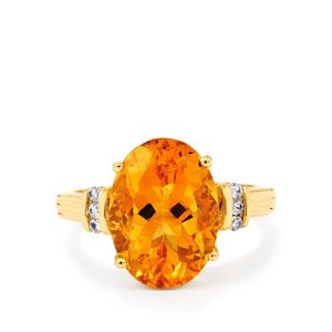 Rio Golden Citrine Ring with White Zircon in 9K Gold 5.44cts