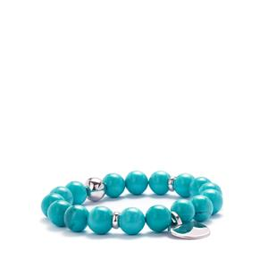Blue Howlite Elastic Bracelet in Rhodium Flash Sterling Silver 127.93cts
