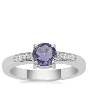 Bengal Iolite Ring with White Zircon in Sterling Silver 0.68ct