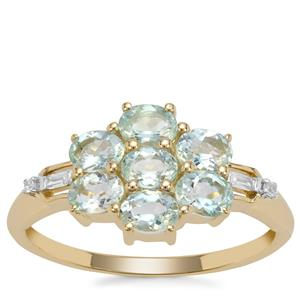 Aquaiba Beryl Ring with White Zircon in 9K Gold 1.12cts