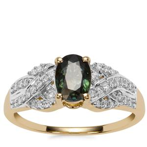 Natural Nigerian Sapphire Ring with Diamond in 18K Gold 1.17cts