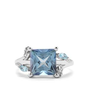 4.48ct Santa Maria & Swiss Blue Topaz Sterling Silver Ring