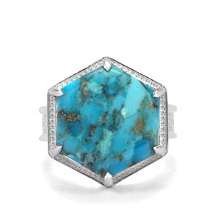 Bonita Blue Turquoise Ring in Sterling Silver 10.86cts