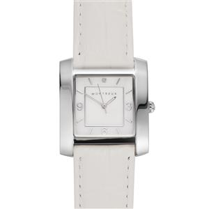 Montreux Diamond and White Mother of Pearl Stainless Steel Watch with White Leather Strap