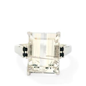 Bahia Rutilite & Black Spinel Sterling Silver Ring ATGW 10.25cts