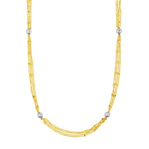 "18"" Station Necklace in Two Tone Gold Plated Sterling Silver 7.77g"