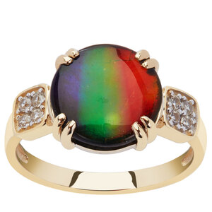 AA Ammolite (10.5x10.5mm) Ring with White Zircon in 9K Gold