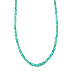 38ct Amazonite Sterling Silver Bead Necklace with Magnetic Lock