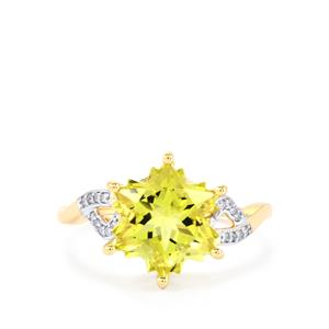 Green Gold Quartz Ring with Diamond in 9K Gold 4.10cts