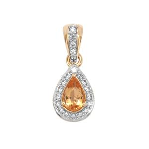 Ouro Preto Imperial Topaz Pendant with White Zircon in 10K Gold 1.35cts