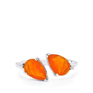 AAA Honey American Fire Opal Ring with White Topaz in Sterling Silver 1.77cts