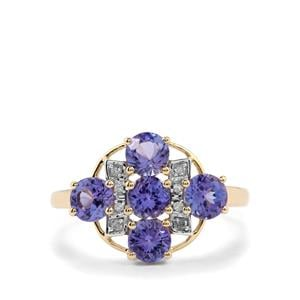 AA Tanzanite & Diamond 10K Gold Ring ATGW 1.96cts