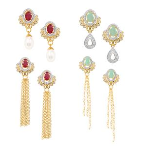 Montepuez Ruby, Sokoto Emerald, Kaori Cultured Pearl Interchangeable Earrings with Diamond in Gold Plated Sterling Silver 14.17cts