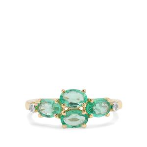 Ethiopian Emerald Ring with Diamond in 9K Gold 1.26cts