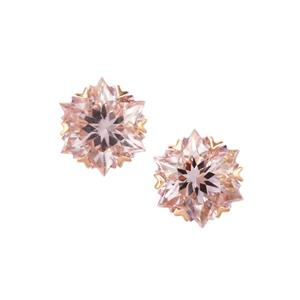 Wobito Snowflake Cut Rose De France Amethyst Earrings in 9K Rose Gold 4.16cts