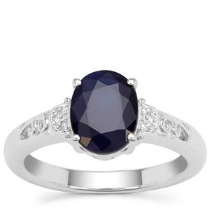 Madagascan Blue Sapphire Ring with White Zircon in Sterling Silver 2.37cts