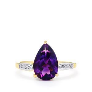 Moroccan Amethyst & Diamond 10K Gold Ring ATGW 2.76cts