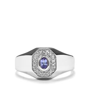 AA Tanzanite & White Topaz Sterling Silver Ring ATGW 0.37cts