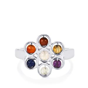 0.95ct Sterling Silver Gemstone Chakra Flower Ring