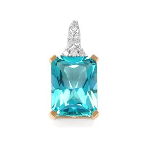 Batalha Topaz Pendant with Diamond in 9K Gold 2.83cts
