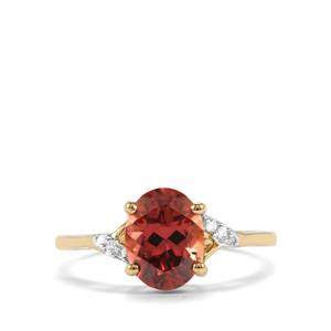 Zanzibar Zircon Ring with Diamond in 10k Gold 2.69cts