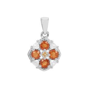 Mandarin Garnet, Diamantina Citrine Pendant with White Zircon in Sterling Silver 2.39cts