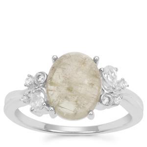 Menderes Diaspore Ring with White Zircon in Sterling Silver 3.24cts