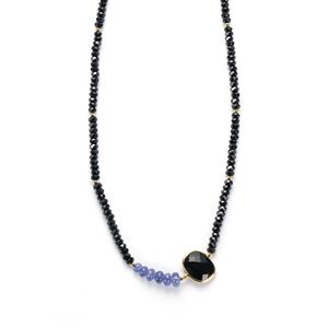 Tanzanite, Black Spinel Necklace with Tourmalinated Quartz in 925 Sarah Bennett 68.38cts