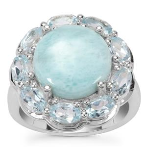 Larimar, Sky Blue Topaz Ring with White Zircon in Sterling Silver 7.40cts