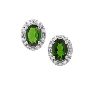 Chrome Diopside Earrings with White Zircon in Sterling Silver 1.78cts