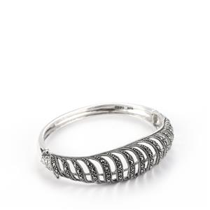 Natural Marcasite Oval Bangle in Sterling Silver 1ct