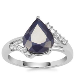 Madagascan Blue Sapphire Ring with White Topaz in Sterling Silver 3.78cts