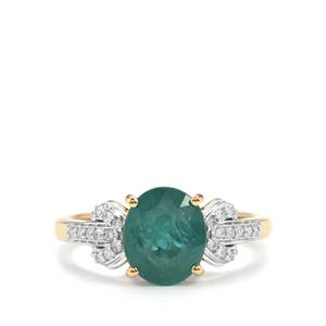 Grandidierite Ring with Diamond in 18K Gold 2.25cts