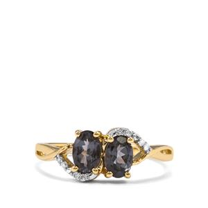 Mahenge Blue Spinel Ring with Diamond in 10K Gold 1cts