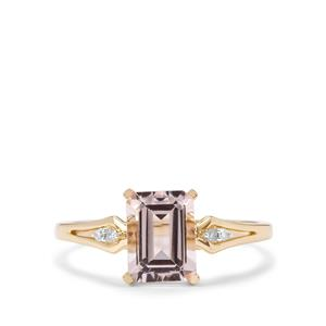 Alto Ligonha Morganite & Diamond 10K Gold Ring ATGW 1.38cts
