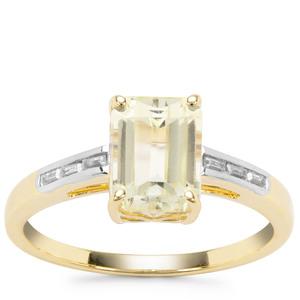 Minas Novas Hiddenite Ring with White Zircon in 9K Gold 2.36cts