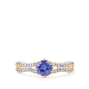 AA Tanzanite & White Zircon 9K Gold Ring ATGW 0.95cts