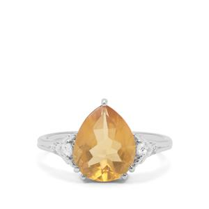 Burmese Amber Ring with White Zircon in Sterling Silver 1.42cts