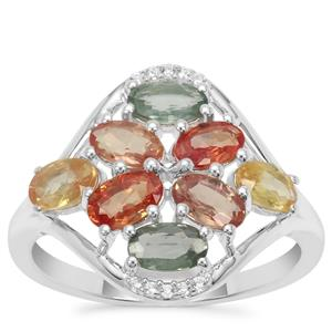 Songea Rainbow Sapphire Ring with White Zircon in Sterling Silver 2.61cts