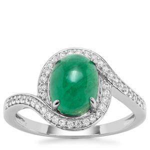 Itabira Emerald Ring with White Zircon in 9k Gold 2.40cts
