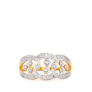 Diamond Ring in Gold Plated Sterling Silver 0.28ct
