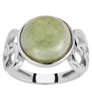Moss-in-Snow Jade Ring in Sterling Silver 8.84cts