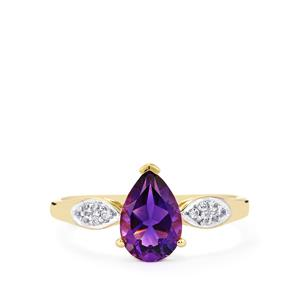 Moroccan Amethyst & White Zircon 9K Gold Ring ATGW 1.35cts